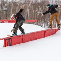stowe mountain snowboarding gnarbear team rail ramps apparel snow skiing ski